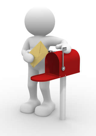 postbox: 3d people character and mailbox - 3d render