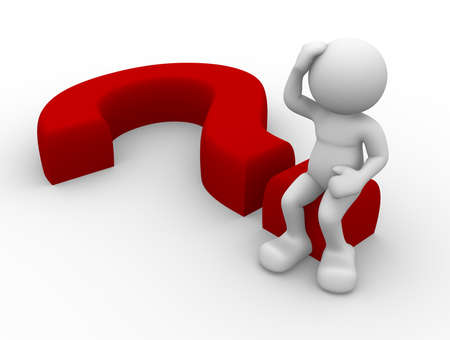doubting: 3d person character sitting on a question mark Stock Photo