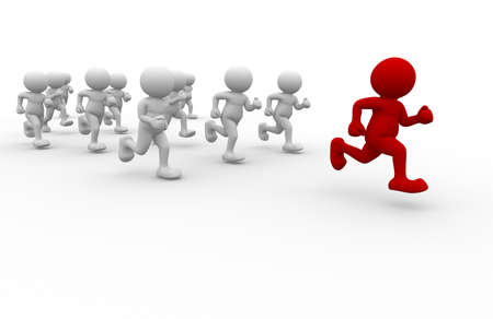 individual sport: 3d people running with a red human  - 3d render