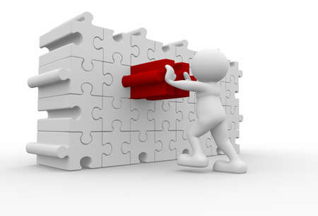 3d human character pushing different puzzle piece - 3d render  photo