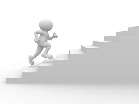 3d people character running up on stairs - 3d render Stock Photo - 9034456