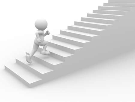 3d people character running up on stairs - 3d render Stock Photo - 9034507