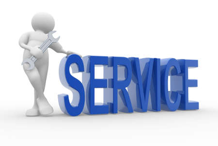 service on: 3d human character and service concept - 3d render illustration
