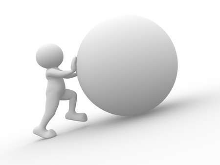 3d white human character pushing a blank sphere