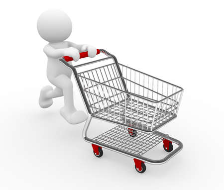 shoppers: 3d human with shopping cart - 3d render illustration