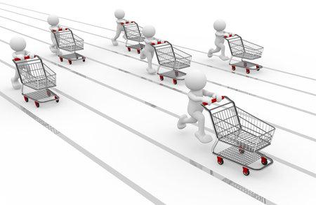 3d human with shopping cart - 3d render illustration Stock Illustration - 9034516