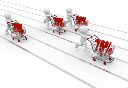 3d human with shopping cart - 3d render illustration Stock Illustration - 9034515