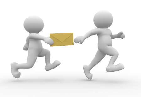 sms: 3d people character running with an envelope - 3d render