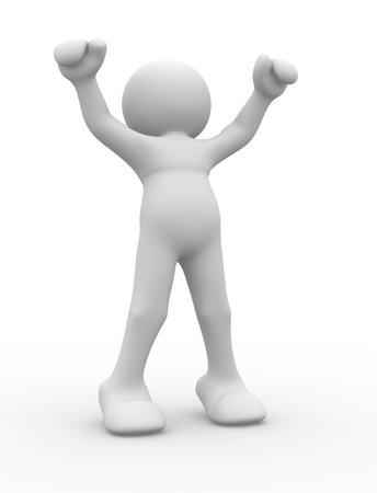 Zeichen: Menschlichen Charakter in Gewinner Position - 3d Render Abbildung