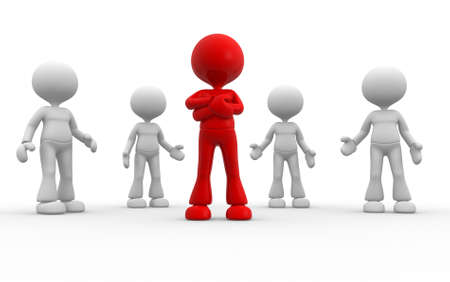 3d people - man, person in group. Leadership and team photo