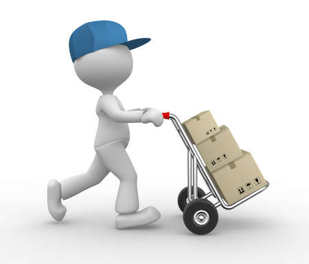 SHIPPING CONTAINERS: 3d people - man, person with hand truck and packages. Postman.  Stock Photo