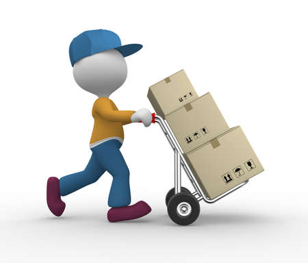 3d people - man, person with hand truck and packages. Postman. Stock Photo - 17792409