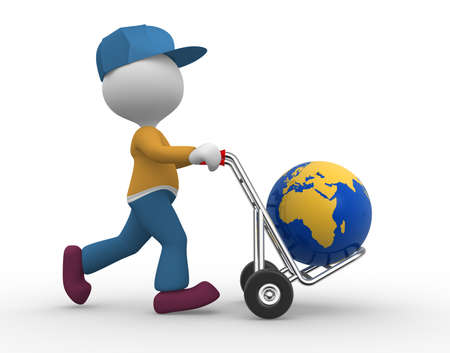 relocate: 3d people - man, person with hand truck and earth globe