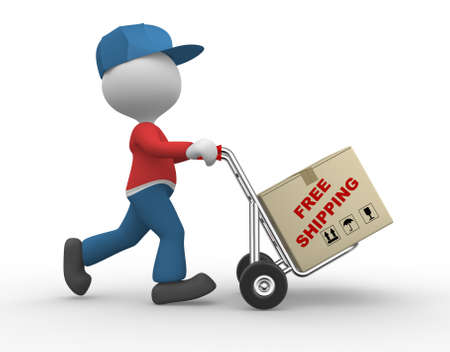 hand truck: 3d people - man, person with hand truck and packages. Postman. Free shipping