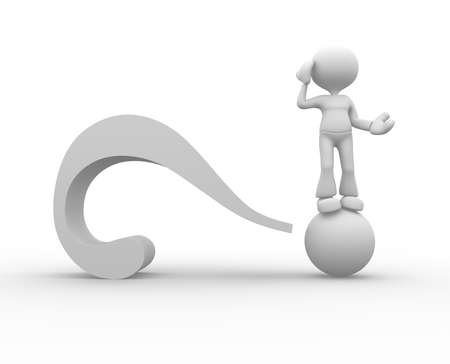 humourous: 3d people - man, person with a big question mark