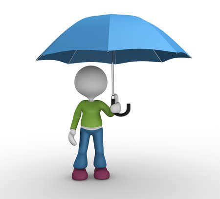 3d people - man, person under a blue umbrella photo