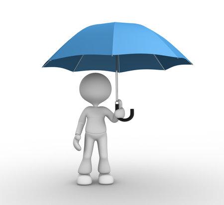 sotto la pioggia: Persone 3d - uomo, persona sotto un ombrello blu
