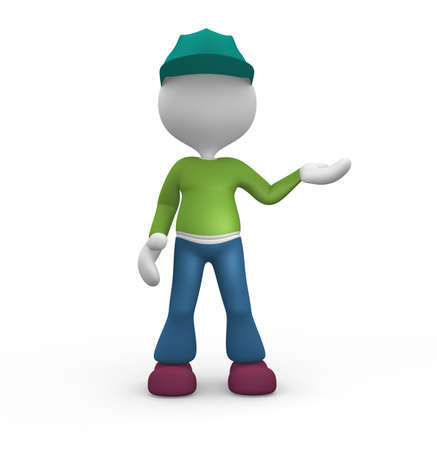 3d people - man, person presenting - pointing. photo