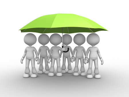 danger to life: 3d people - men, person under a green umbrella. Leadership and team