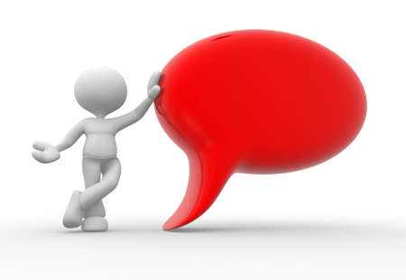 3d people - man, person with empty speech bubble Stock Photo - 17792494