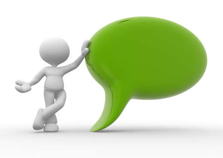 3d people - man, person with empty speech bubble Stock Photo - 17792492