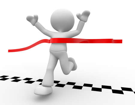 reached: 3d people - man, person has reached the finish line. Stock Photo