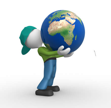 3d people - man, person holding a globe of the Earth Stock Photo - 17904968
