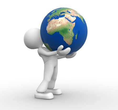 3d people - man, person holding a globe of the Earth Stock Photo - 17792532