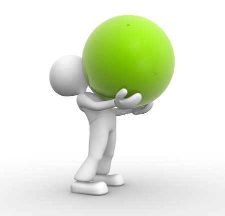 3d people - man, person and a green sphere Stock Photo - 17792489