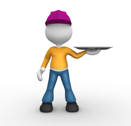 3d people - man, person with a blank tray. photo
