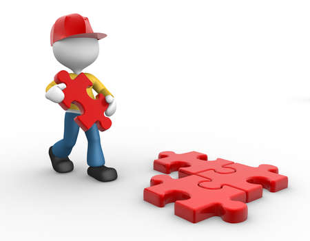 3d people - man, person and a missing piece of a puzzle. photo
