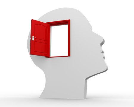 male face profile: 3d - human head with open door. 3d render