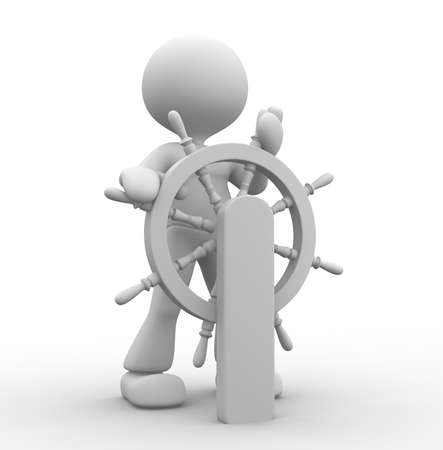 3d people - man, person and at a helm. Helmsman  photo