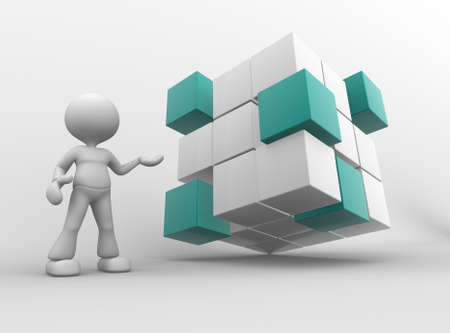 merge: 3d people - man, person with cubes.