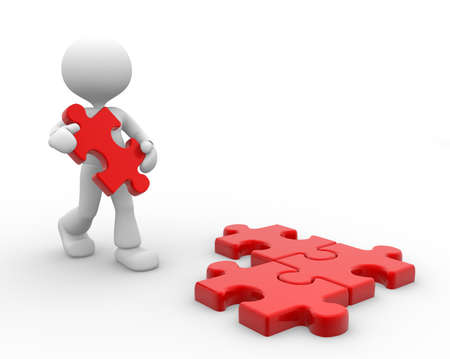 missing puzzle piece: 3d people - man, person and piece of jigsaw