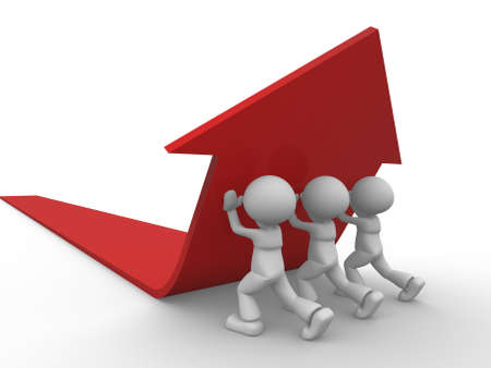 common: 3d people - men, person pushing red arrow. Concept of solution.