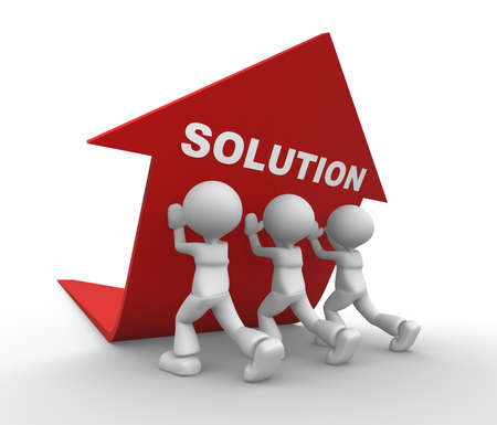 collaboration: 3d people - men, person pushing red arrow. Concept of solution.