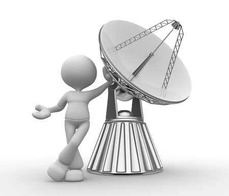 3d people - man, person with a parabolic dish ( radio telescope ) photo