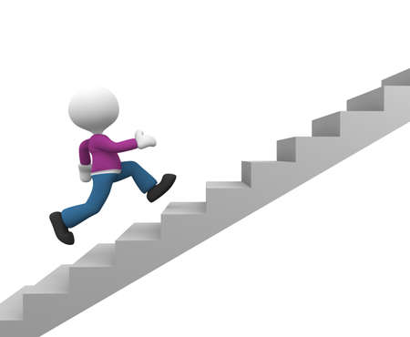 3d people - man, person running on stairs. To success photo