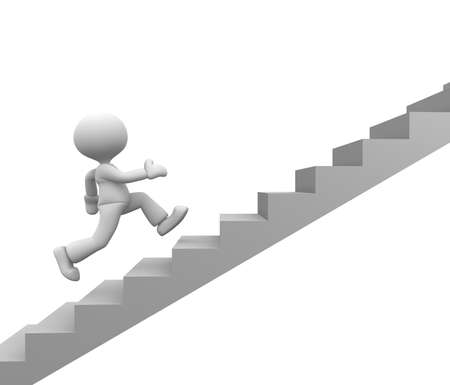 3d people - man, person running on stairs. To success Stock Photo - 17792540