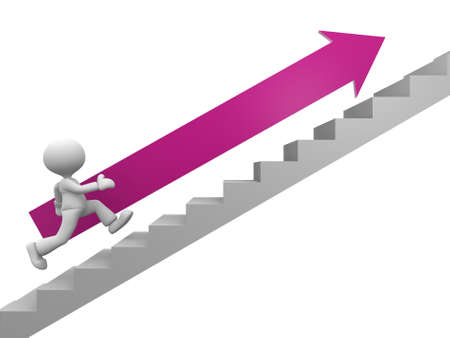 3d people - man, person with an arrow running on stairs. To success Stock Photo - 17792543