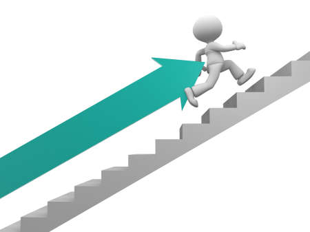 3d people - man, person with an arrow running on stairs. To success Stock Photo - 17792542