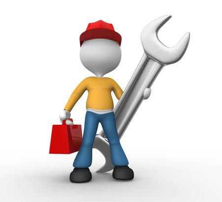 3d mensen - een man, persoon met een moersleutel en toolbox. Mechanical engineer