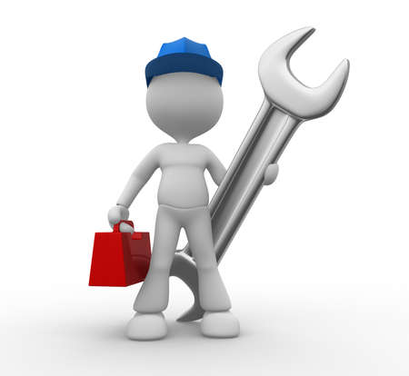 3d people - man, person with a wrench and toolbox. Mechanical engineer Stock Photo - 17792547