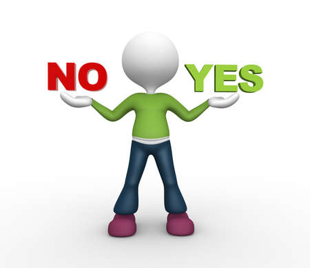 no image: 3d people - man, person presents yes and no words Stock Photo