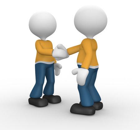 handshake icon: 3d people - man, person friendly handshake.