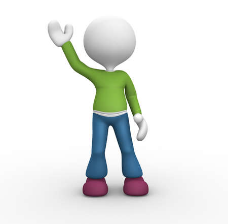 3d person: 3d people - man, person raise ones hand for greeting.