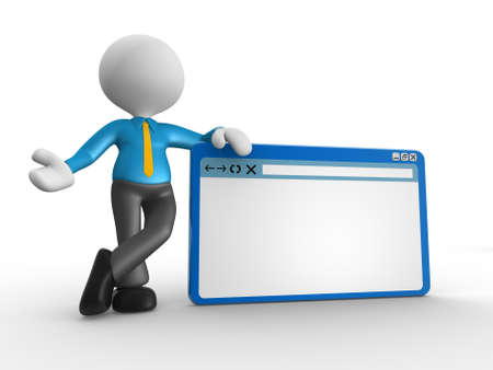 3d people - man, person with browser window. Stock Photo