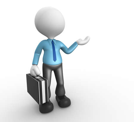 briefcase icon: 3d people - man, person presenting - pointing. Businessman