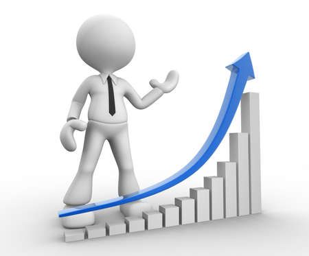 3d people - man, person with a chart  financial. Success. Stock Photo - 17792441